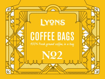 Lyons  line work symmetry ornate abstract deco border decoration coffee packaging