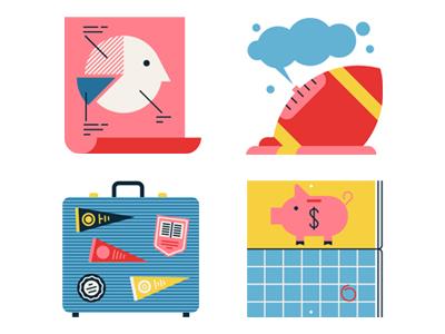 Student debt money debt graph travel college suitcase football graphic flat icon design vector