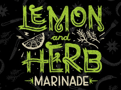 Lemon and Herb illustration brand packaging bbq sauce food herb lemon drawing type typography lettering