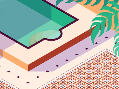 Morocco palm shadow interior swim summer pool tiles morocco flat isometric vector illustration