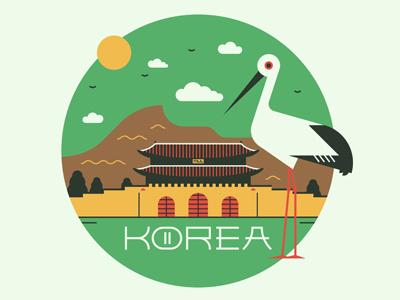 Korea vintage circle east asian design graphic korea bird icon vector illustration