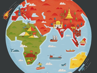 Across the globe world space tree boat sea land globe texture icons map illustration editorial