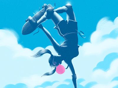 Invert! boobs sexy clouds extreme retro pigtails illustration gum bubblegum girl skateboarding skate