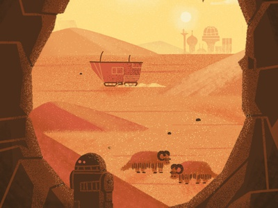 Tatooine planet negative space millennium falcon film cave desert star wars r2d2 texture drawing illustration