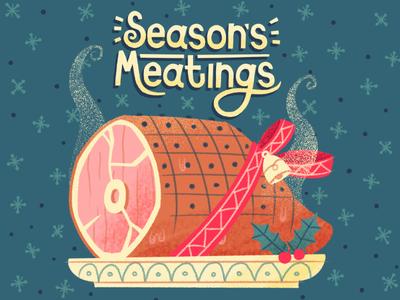 Season's Meatings ribbon bell season festive holly meat food holiday christmas xmas gammon illustration