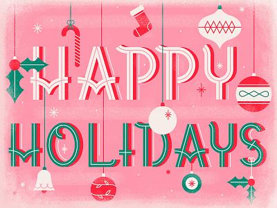 Happy Holidays  bells candy sock festive stars mistletoe decorations gifts happy holiday