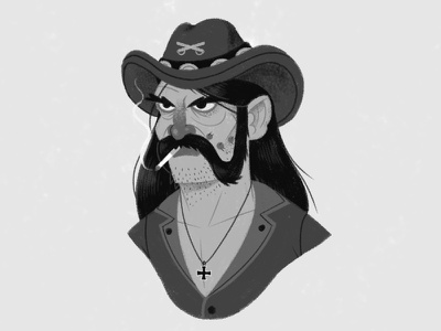 RIP Lemmy face hat scowl legend moustache illustration portrait music lemmy rock n roll rock motorhead