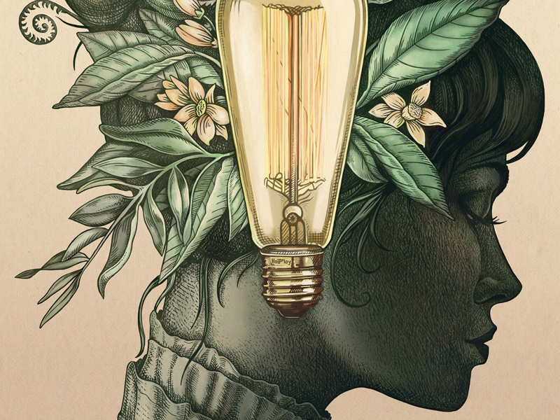 Bright Young Things leaves flower texture lightbulb sketch botanical drawing etching woman face portrait illustration