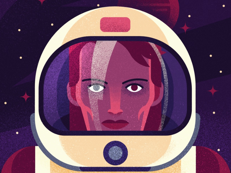 Space Oddity illustration vector reflection rip bolt lightning stars helmet texture space portrait bowie