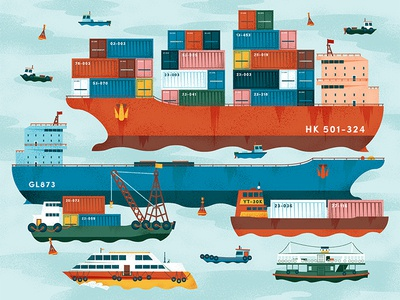 Hong Kong ship container ferry vector icon nautical water ocean sea harbour illustration boat