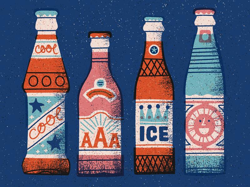 Sodas print soda drink vintage retro bottle icon texture flat vector illustration