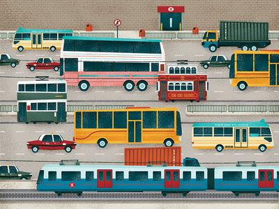 Beep! Beep! traffic tram car vintage retro hong kong icon texture flat vector illustration