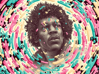 Voodoo Child kaleidoscope guitarist pattern psychedelic rock and roll man character portrait jimi hendrix drawing digital painting illustration