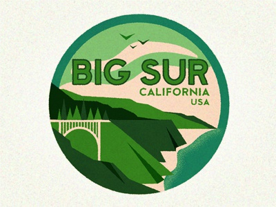 Big Sur big sur icon retro sticker badge california destination vintage travel