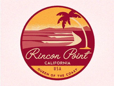 Rincon Point  sunset oceans texture palm waves rincon retro vintage destination travel badge sticker