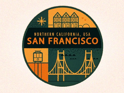 San Francisco san francisco golden gate tram house city retro vintage destination travel badge sticker