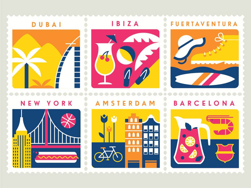 eBookers flower prawn palm bridge bicycle beach city destination stamps holiday travel