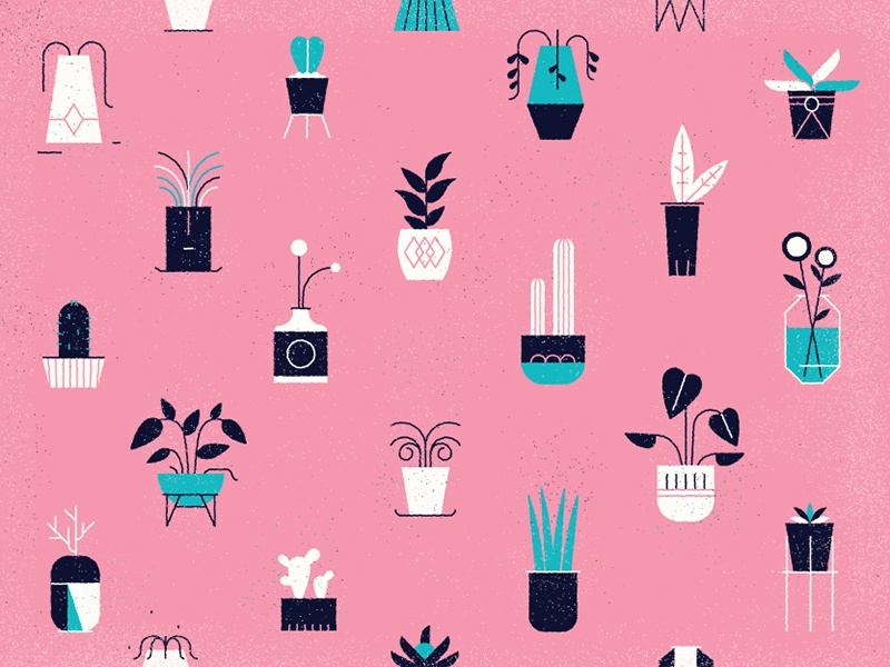Potted plants design repeat logo icon simple flat wallpaper nature pattern illustration plant vector