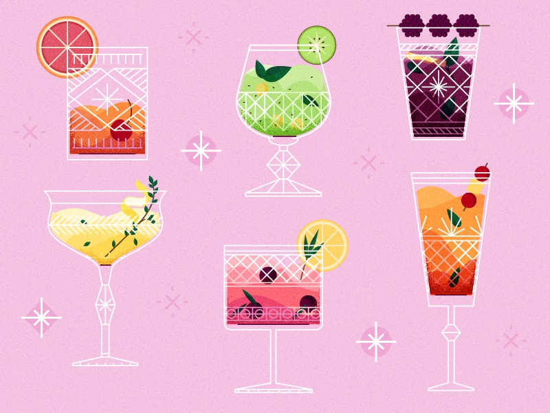 Cocktail Hour pattern glass fruit drinks bar texture vintage retro flat illustration icon vector