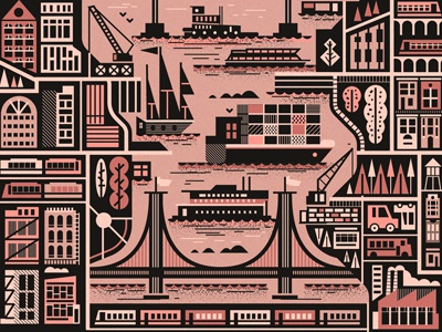 The East River  new york brooklyn bridge boats taxi train buildings ships vector map