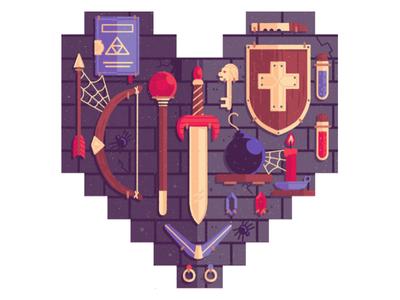 The Legend of Zelda bomb bricks key shield arrow sword weapons video game the legend of zelda texture digital painting illustration