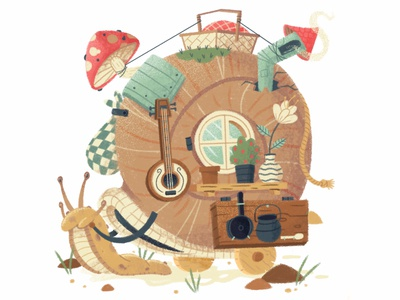 Mobile Home drawing mushroom flower window character design chimney house character snail texture digital painting illustration
