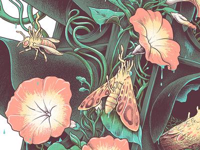 Aftermath leaf print poster vine bug bee plant moth screenprint flower digital painting illustration