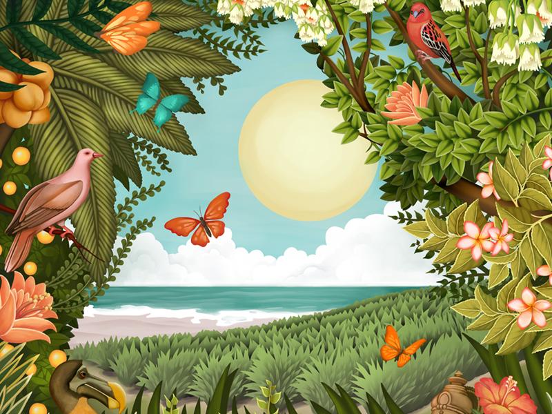 Treasure Island beach butterfly sun tropical flower dodo birds plants forest texture digital painting illustration