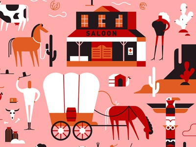Wild SXSW vector woman skull totem cactus saloon cow horse cowboy west