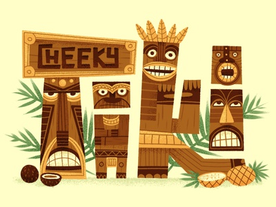 Cheeky Tiki retro character mask tribal palm hawaii island midcentury typography font lettering illustration