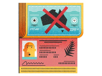 Immigration texture stamp book passport character monocle logo editorial icon flat vector illustration
