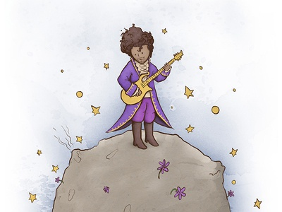 Goodbye little Prince! watercolour texture stars planet musician illustration guitar flowers drawing digital painting character