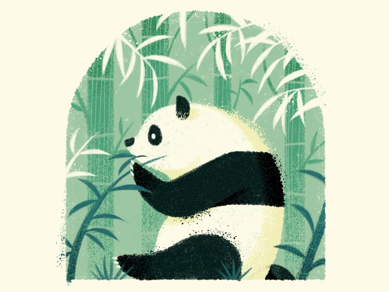 Happy Earth Day texture drawing character earth animal spot bear bamboo wildlife nature panda illustration