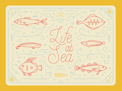Life at Sea  border water lettering type hook fins fish decoration pattern ocean sea