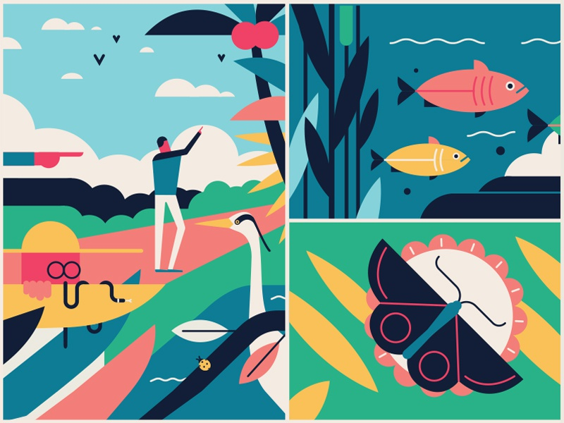 Beaches & Parks  vector landscape leaves ocean butterfly fish sights nature animal park beach sea