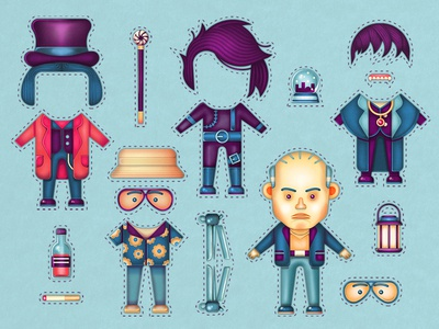 The many faces of Johnny Depp. snow globe glasses willy wonka johnny depp cut out doll hat vector character man texture digital painting illustration