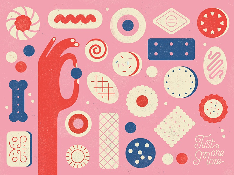 Tasty Treats  texture vector pink pattern hand food tasty biscuit sweets treats