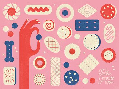 Tasty Treats  texture vector pink pattern hand food tasty biscuit sweets treats