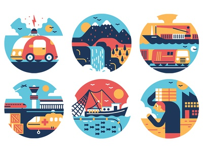 Forbes boat infrastructure transport editorial scene car logo design graphic vector icon illustration