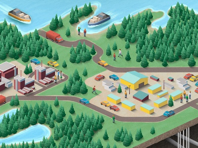 Depot  car truck vehicle lake ocean building humans people forest trees boats isometric