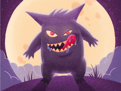 Gengar  eyes teeth clouds background moon creature character illustration pokemon