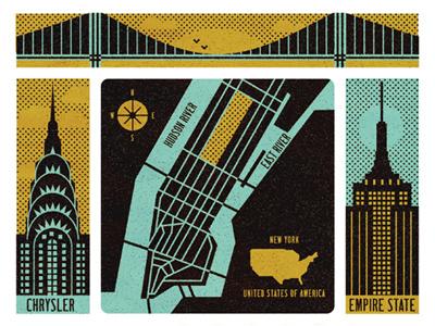Visit Manhattan  empire state texture roads river compass map bridge chrysler manhattan
