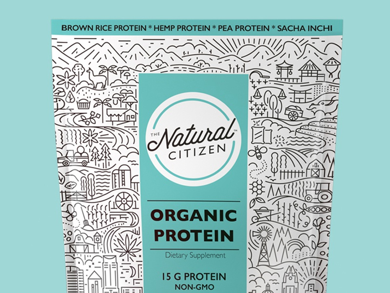 The Natural Citizen  plants organic grow truck car river trees mountains hills pattern illustration packaging
