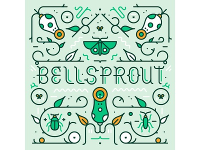 Bellsprout pattern character typography insect nature plant logo pokemon icon flat vector illustration