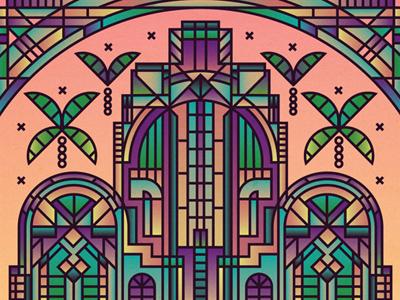 Art Deco decorative border arch palm colours gradient pattern architecture deco building