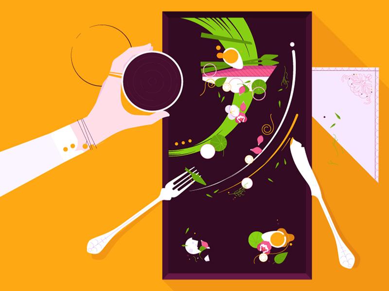 Dinner is served  egg fish fork knife serviette deconstructed abstract dinner food plate glass wine