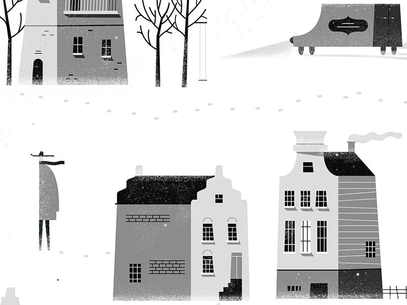 Winter Wonderland! ☃ car scarf man scene tree house town character snow texture vector illustration