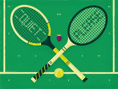 The Championships graphic play court strawberry wimbledon ball tennis racket grass flat vector illustration