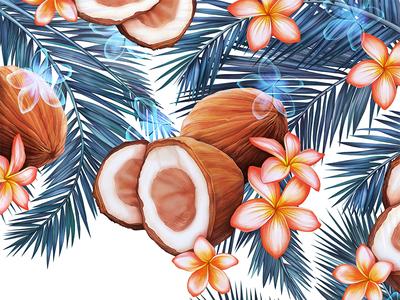 Takamaka  label packaging tropical flower frangipani leaf palm coconut coco texture digital painting illustration