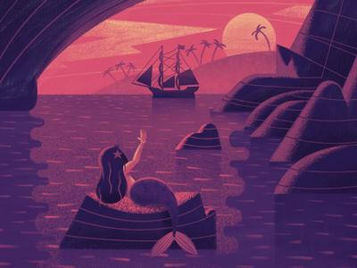 Hello Sailor sunset boat ocean island drawing retro vintage ship mermaid flat texture illustration